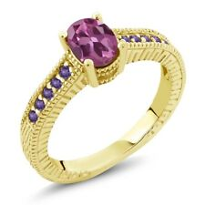 1.25 Ct Oval Pink Tourmaline Purple Amethyst 18K Yellow Gold Plated Silver Ring