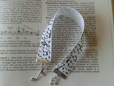 Music notes black & white grosgrain ribbon & charms bookmark