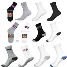 4 8 12 Pairs Lot Men Athletic Sports Cotton Crew Socks USA logo 9-11 10-13 New