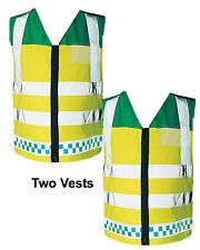 Two Paramedic EMT Vests Waistcoat Ambulance Reflective Emergency Hi Visiblilty