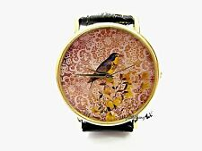 Bird Lace Watch Handmade Woman Leather Wrist Watch With Genuine Leather #127