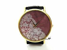 Lace Leather Watch Handmade Woman Leather Wrist Watch With Genuine Leather #128