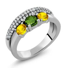 1.93 Ct Round Green Chrome Diopside Yellow Sapphire 925 Sterling Silver Ring