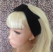 NEW BLACK PLAIN COTTON BENDY WIRE HAIR WRAP WIRED SCARF HEADBAND 50S RETRO STYLE