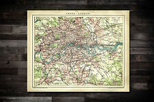 Map of Inner London England UK Oversized Antique Gritty Look Repro 8x10 to 30x40