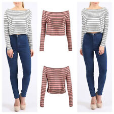 NEW WOMENS LADIES SOFT CASUAL STRIPED BRADOT OFF SHOULDER LONG SLEEVE CROP TOP