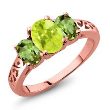 2.10 Ct Oval Yellow Lemon Quartz Green Peridot 18K Rose Gold Plated Silver Ring