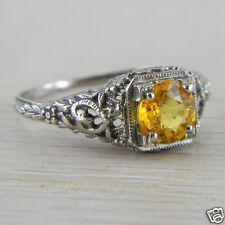 10K White Gold Solitaire Citrine Art Deco Filigree Vintage Ring FN-R382