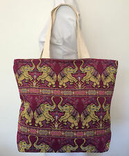 Elephant Tapestry Style Tote Bag Handmade in Thailand Brand New
