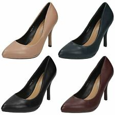 Ladies Spot On High Heel Court Shoes / Slip On / Pointed Toe