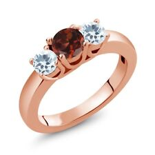 0.99 Ct Round Red Garnet Sky Blue Aquamarine 14K Rose Gold Ring