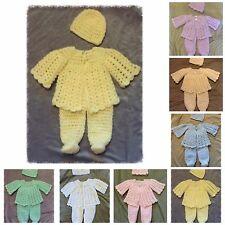 Handmade Crochet Knit Baby Girl Boy Coming Home Layette Outfit Gift Sweater Set