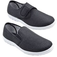 Mens Comfort Canvas Plimsoll Boat Shoes Strap & Slip on Sizes 6,7,8,9,10,11,12