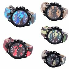 Unisex Round Dial Watch Camo Silicone Band Analog Quartz Casual Wristwatch Gifts