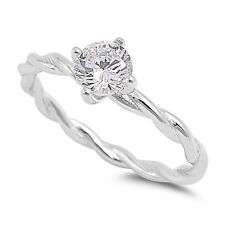 Sterling Silver 925 TWISTED BAND DESIGN WITH ROUND CLEAR CZ RING SIZES 4-10