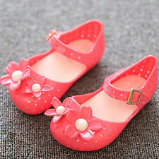 Cute Double Bow Flower Jelly Shoes Toddler Girl Summer Soft Kids Flat Sandals