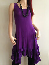 BNWT EVERSUN LADIES PURPLE RUFFLED LAYER TUNIC DRESS SIZE 10 12 14 16 18 20 #
