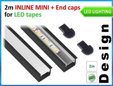 LED PROFILE INLINE MINI for LED STRIPES 2m BLACK PIANO + 2 end caps /top quality