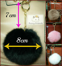 Keyring Pompom Keychain GOLD CLASP Ball Real Fur 8cm Ball Soft Fluffy Charm Pom