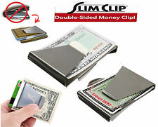 Double Sided Slim Stainless Steel Money Clip Credit Card Note Cash Holder Man