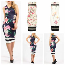 NEW WOMENS LADIES SLEEVELESS MESH INSERT FLORAL PRINT STRETCH BODYCON MIDI DRESS