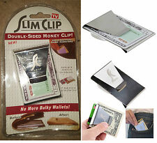 New man Double Sided Slim Stainless Steel Money Clip Credit Card  Cash Holder