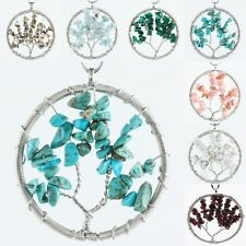 Natural Gemstone Crystal Wire Wrap Tree of Life Chips Beads Tumble Stone Pendant