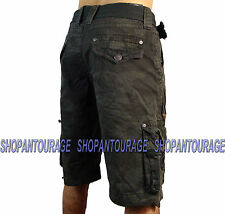 AFFLICTION Raided 110WS106  Men`s New Camo Green Cargo Shorts