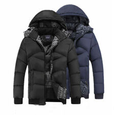 Winter Mens Thick Padded Jacket Hooded Cotton Coat Parka Overcoat Outerwear Warm