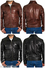 Mens Black Brown Leather Safari Quilted Long Jacket Coat Double Collar and Zip