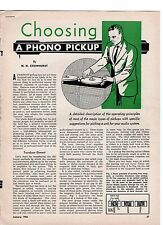 """N H CROWHURST ARTICLE FROM 1956 """"CHOOSING A PHONO PICKUP"""""""