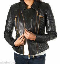 Ladies Black Diamond Quilted New Leather Biker Jacket with Fashionable Gold Zips