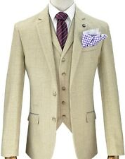 Mens Designer Tweed Beige Checked Vintage Blazer Jacket Formal / Casual