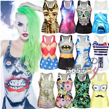 Sexy Women Printed Sleeveless Singlet Vest Tank Top Gothic Punk Rock Party Shirt