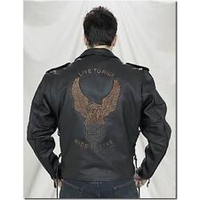 Men's Retro Black Motorcycle Cowhide Leather Jacket Raised American Eagle