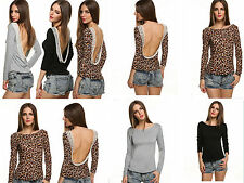 Fashion Sexy Ladies Lace Backless Long-sleeved T-shirt Backing Shirt and Blouses
