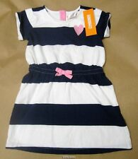 Gymboree Hop N Roll Navy Striped Dress with Bow 4 NWT