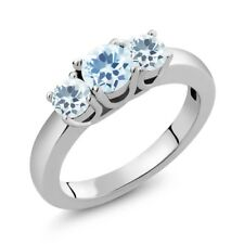 0.94 Ct Round Sky Blue Topaz Sky Blue Aquamarine 925 Sterling Silver Ring