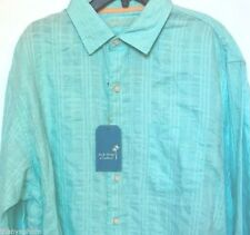 Caribbean Mens Linen Cotton Light Aqua Plaids Long Sleeve Shirt Size M L XL NWT