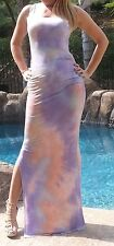 Maya Antonia-PLUS SIZE- Tie-Dye Purple-White-Coral Sexy Maxi Dress,Extra Long