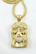 "MENS ICED OUT 14K GOLD FINISH JESUS PIECE HIP HOP PENDANT & 36"" FRANCO CHAIN"