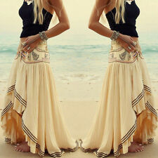 Fashion Women Boho Tribal Floral Skirt Maxi Summer Beach Long Casual Skirt Dress