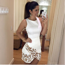 Cocktail Evening Party Women Ladies White Sleeveless Leopard Print Short Dress