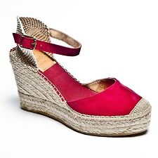 Raspberry Pink  Suede Wedge Espadrilles With Platform