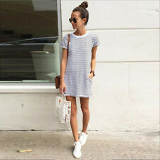 UK Sexy Womens 2016 Spring Casual Strip Summer Short Sleeve beach Mini Dress