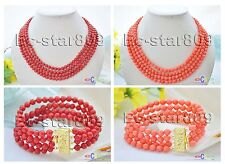 X0027 4Strds 6mm ROUND CORAL BEAD Necklace Bracelet