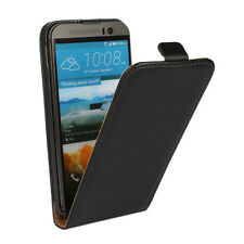 For HTC One M9 NEW Genuine Real Leather Vertical Open Flip Stand Case Cover Skin