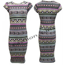 Womens Ladies Cap Sleeves Aztec Tribal Print Summer Bodycon Midi Printed Dress