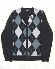 NEW FRED PERRY K3222 MENS BLACK ARGYLE PATTERN MERINO BLEND CARDIGAN