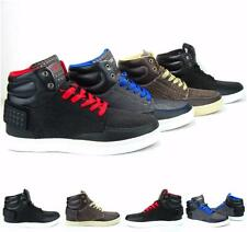 Men's Faux Leather Canvas Lace Up High Top Skate Casual Walking Athletic Shoes